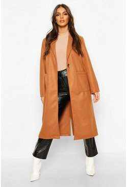 Camel Longline Patch Pocket Wool Look Coat