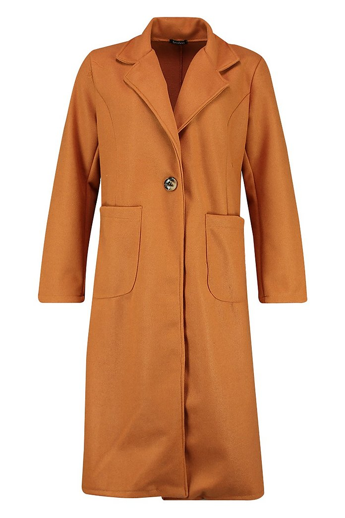 Cappotto lungo effetto lana con tasche applicate | boohoo