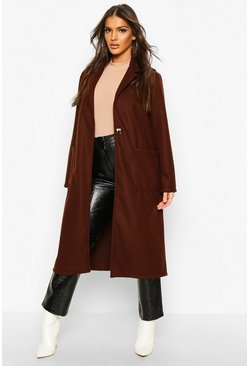Chocolate Longline Patch Pocket Wool Look Coat