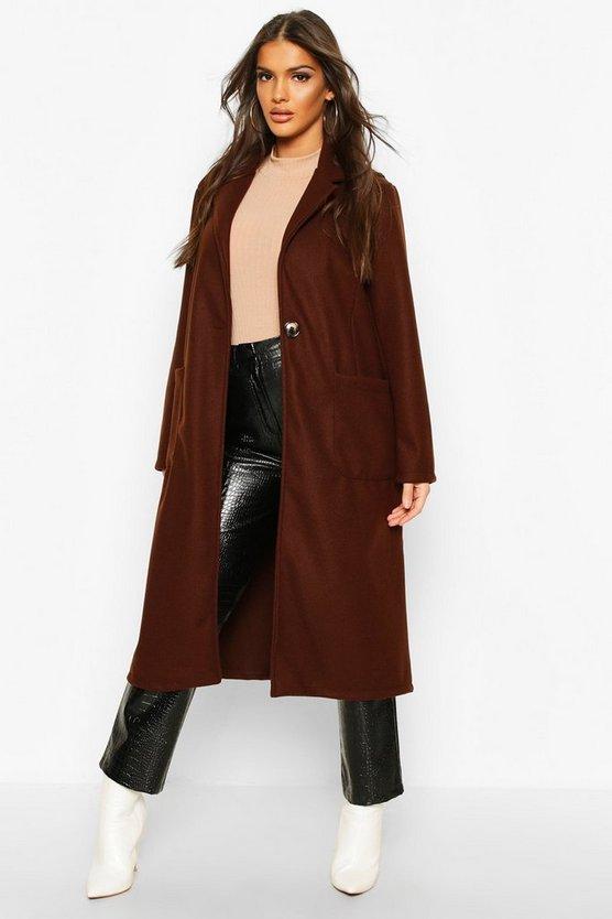 Longline Patch Pocket Wool Look Coat