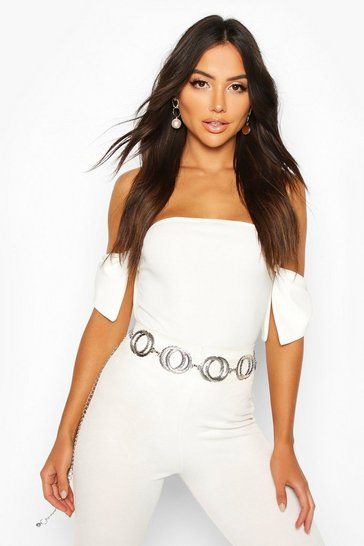 Ivory Off The Shoulder Bow Detail Bodysuit