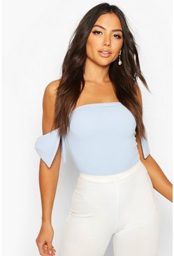 Off The Shoulder Bow Detail Bodysuit, Light blue