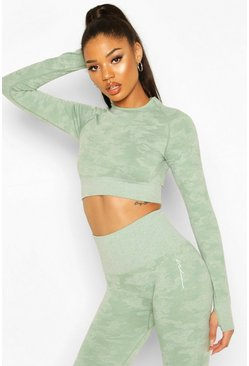 Khaki Fit Camo Contouring Seamless Long Sleeve Crop Top
