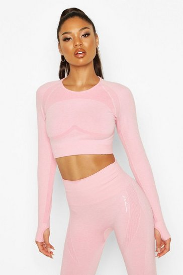 Pink Fit Contouring Seamless Long Sleeve Crop Top