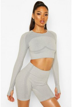 Grey Fit Contouring Seamless Long Sleeve Crop Top