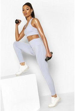 Blue Fit Contoured Supportive Waistband Seamless Leggings