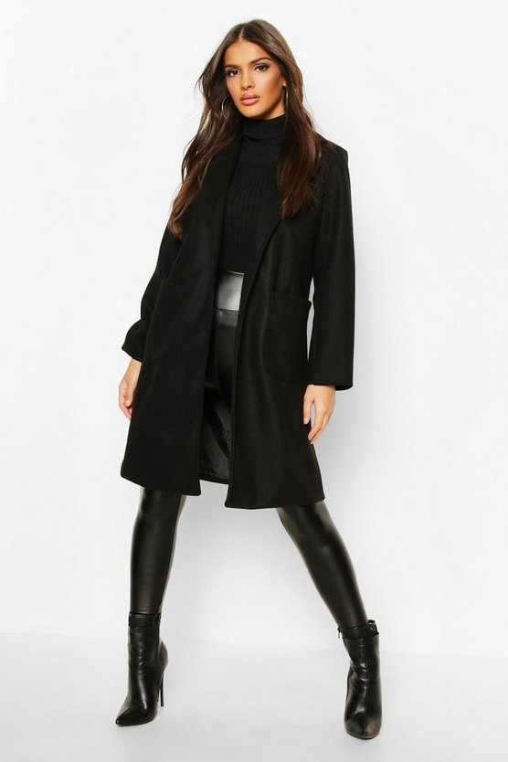Womens Black Pocket Detail Wool Look Coat