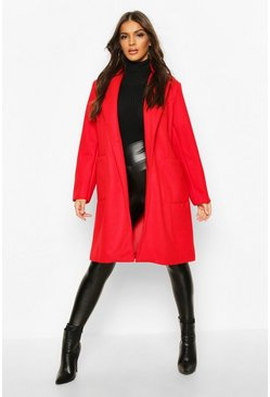 Red Pocket Detail Wool Look Coat