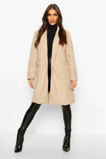 Womens Stone Pocket Detail Wool Look Coat