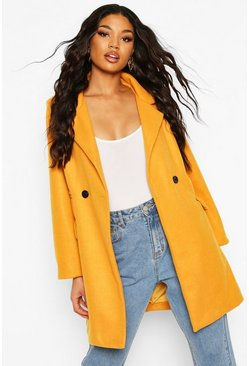 Mustard Pocket Detail Wool Look Coat