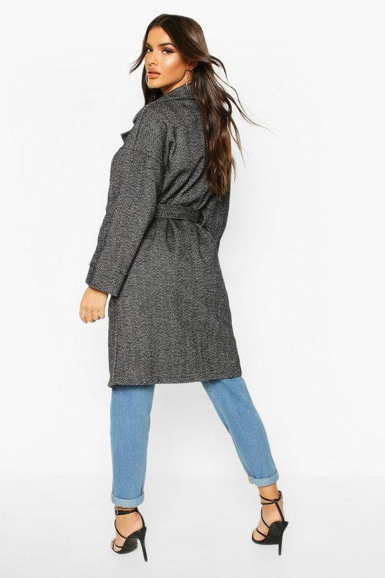 Herringbone Belted Wool Look Coat