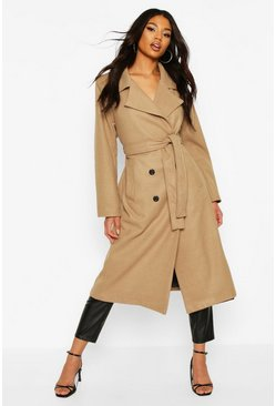 Longline Wool Look Coat, Camel
