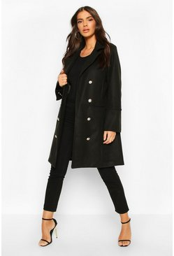 Black Military Button Double Breasted Wool Look Coat