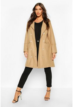Womens Camel Military Button Double Breasted Wool Look Coat