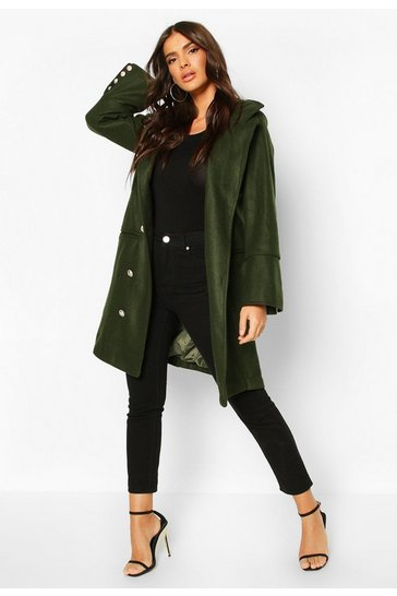 Khaki Military Button Double Breasted Wool Look Coat
