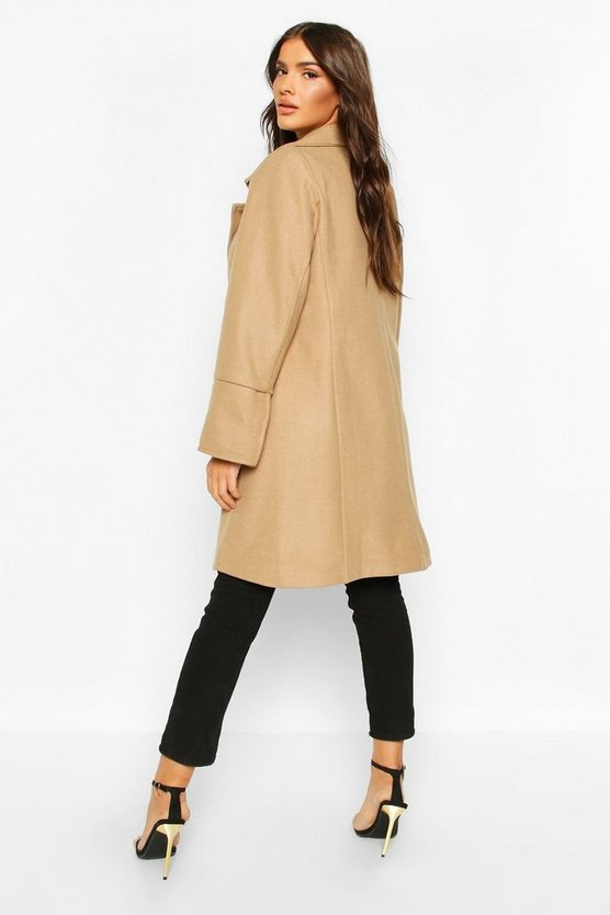 Military Button Double Breasted Wool Look Coat