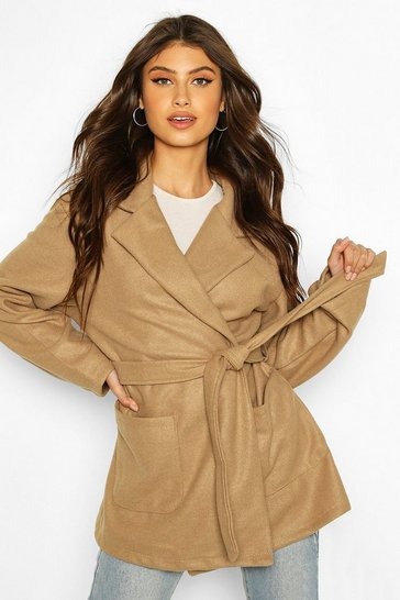 Camel Marled Wool Look Belted Coat
