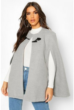 Toggle Detail Wool Look Cape, Grey