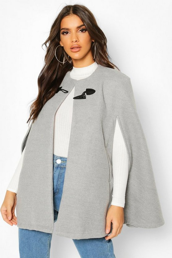 Toggle Detail Wool Look Cape