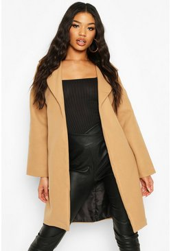 Collared Wool Look Coat, Camel