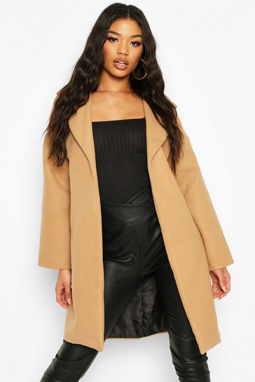 Camel Collared Wool Look Coat