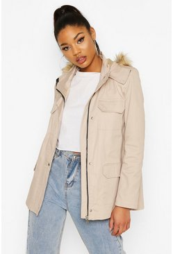 Stone Faux Fur Trim Hooded Pocket Detail Parka