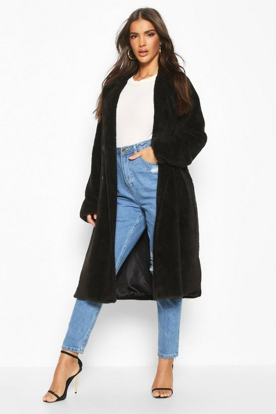 Womens Black Teddy Faux Fur Trench Coat