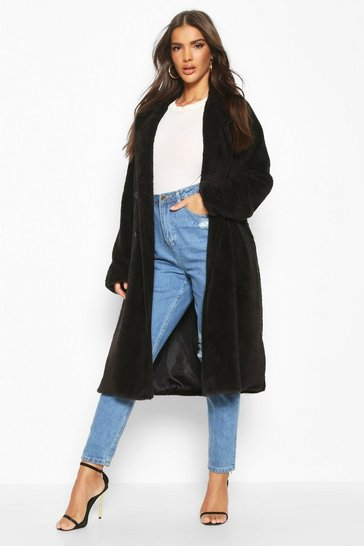 Black Teddy Faux Fur Trench Coat