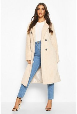 Teddy Faux Fur Trench Coat, Cream