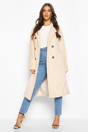 Cream Teddy Faux Fur Trench Coat