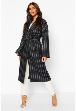 Black Stripe Belted Wool Look Longline Coat