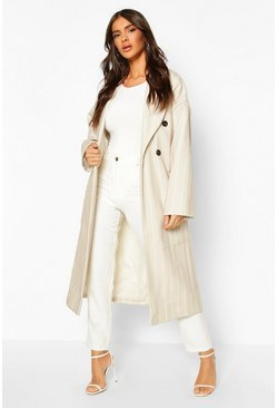Stripe Belted Wool Look Longline Coat, Stone, DAMEN