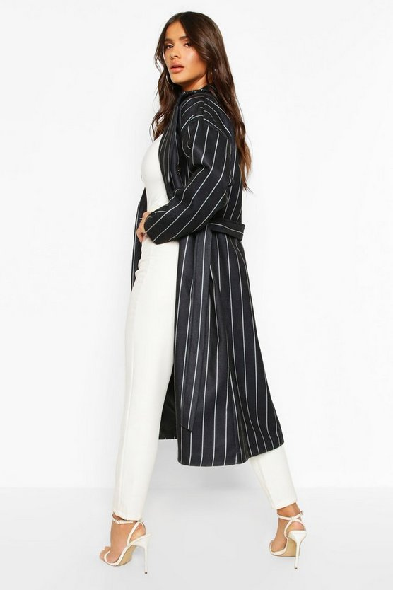Stripe Belted Wool Look Longline Coat