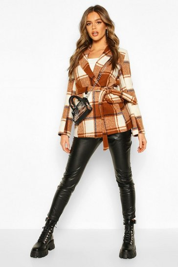 Brown Check Tailored Wool Look Coat