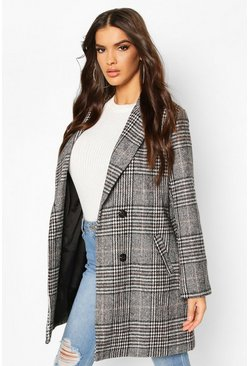 Check Oversized Boyfriend Wool Look Coat, Black