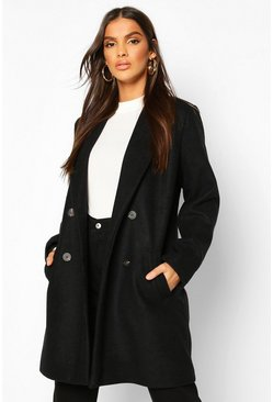 Oversized Boyfriend Wool Look Coat, Black