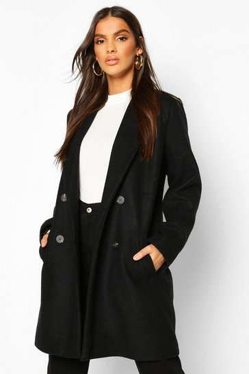 Black Oversized Boyfriend Wool Look Coat