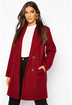 Burgundy Oversized Boyfriend Wool Look Coat