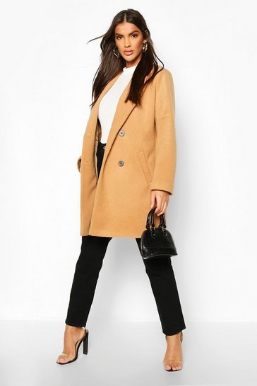 Camel Oversized Boyfriend Wool Look Coat