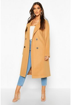 Camel Double Breasted Belted Wool Look Coat