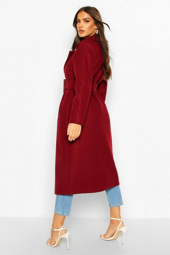 Covered Buckle Belted Wool Look Trench Coat