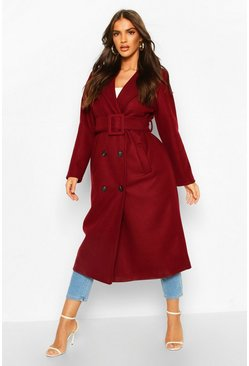 Burgundy Covered Buckle Belted Wool Look Trench Coat