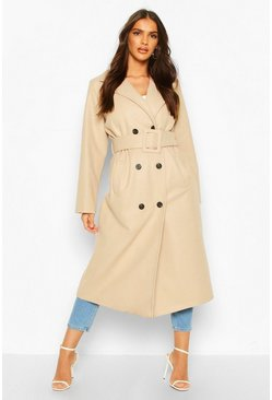 Stone Covered Buckle Belted Wool Look Trench Coat