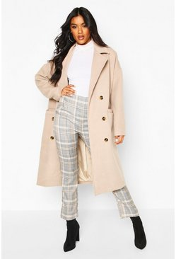 Stone Oversized Boyfriend Wool Look Coat