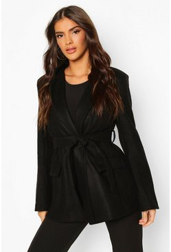 Black Tailored Belted Double Breasted Wool Look Coat