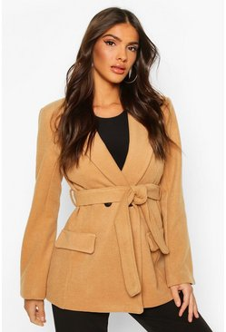 Camel Tailored Belted Double Breasted Wool Look Coat