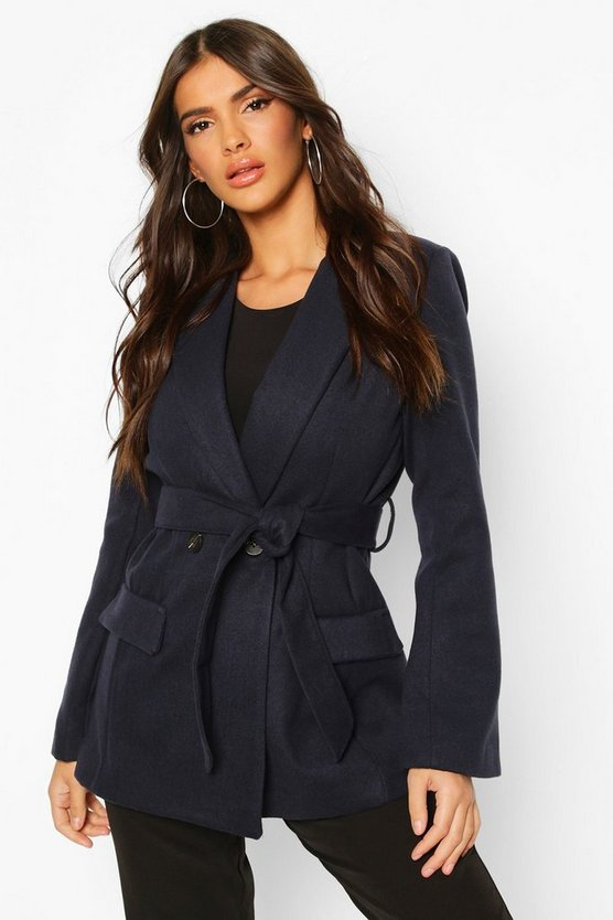 Tailored Belted Double Breasted Wool Look Coat