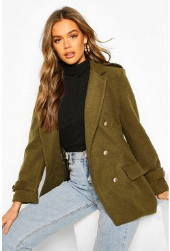 Khaki Double Breasted Military Wool Look Coat