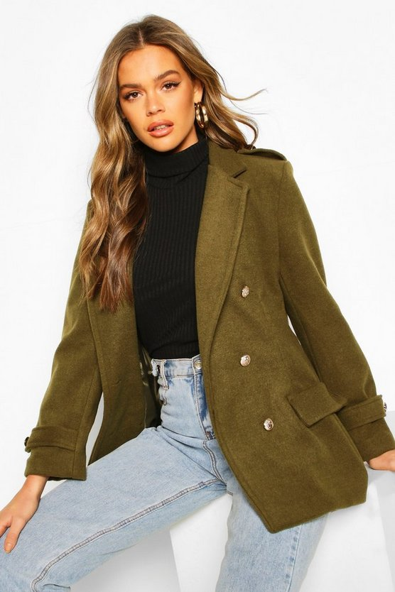 Double Breasted Military Wool Look Coat