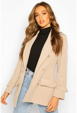 Stone Double Breasted Military Wool Look Coat